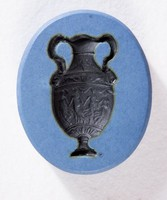 Oval blue jasper Nicolo intaglio with black Dancing Hours vase