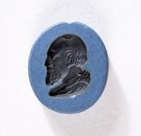 Oval blue jasper Nicolo intaglio with black profile portrait of King George II