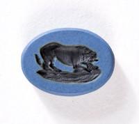 Oval blue jasper Nicolo intaglio with black lion attacking a smaller animal