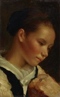 A study of a young girl viewed from the bust up is depicted from the right, close to the picture plane. Her downward gaze is caught by something outside of the place. Her hair is caught up and bound with a simple black cloth.
