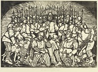 In the center of the composition is a man facing forward with his left arm raised. Surrounding him is a crowd of soldiers with weapons held upright. In front of him, two men kneel with weapons, and one man kneels with a drum. On the left, a man holds onto a dog. On the right, a man carries extra weapons.