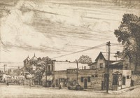 This image is created with black ink on paper. This print represents a street corner and a view down a street toward Birmingham's downtown skyline, with the City Federal building seen in the distance. On the corner stands a corner store with signs for Buffalo Rock Ginger Ale, Coca Cola, and Nehi sodas. Down the left side of the street runs a group of buildings, including a café, a two story building, and a church. A power line stands in front of the corner store and runs down the streets on either side of the corner. There is a large, leafy tree at the right side of the composition.