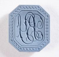 """Octagonal blue jasper intaglio or cypher, """"B Y""""?"""