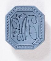 """Octagonal blue jasper intaglio or cypher, """"A V"""""""