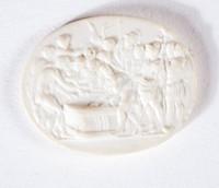 Oval white jasper cameo with unidentified scene
