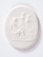 Oval white jasper cameo with relief scene of three women