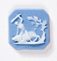 Octagonal blue jasper cameo with white relief scene of Hercules and the boar