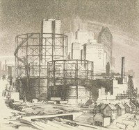 This image is created with black ink on white paper. It represents an assembled version of Birmingham's skyline from the 1930s, including the Thomas Jefferson Tower, the Watts Building, the John Hand Building, and the Jefferson County Courthouse. In front of the skyline in the middle ground are two large cylindrical gas holders. Two thirds of their scaffolding is visible, and only the bottom third of the tanks contain gas. In front of the gas holders are a series of small commercial buildings, houses, and a bridge with a road passing beneath.