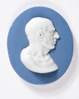 Oval blue jasper medallion with white relief profile portrait of Cicero