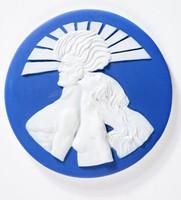 "Round dark blue jasper medallion with white relief scene of man and women, ""Sun and Wind"""