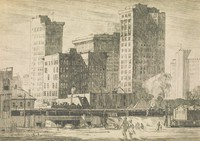 """This image is created with black ink on paper. Its background is dominated by a tall group of six buildings in downtown Birmingham, including a group of four buildings that comprise the """"Heaviest Corner on Earth"""" and the City Federal Building, which is only seen as a small segment behind the Heaviest Corner. In the foreground of the etching are buildings of a smaller scale and through them runs railroad tracks. A street runs beneath the railroad tracks through an underpass, and a number of people walk on the street."""