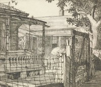 This image is created with black ink on paper. A woman stands on the porch of a house, hands folded. To the left of this woman is another house with a porch and porch swing that is unoccupied. The yard is fenced, partially by a wire fence. A wired gate is to the right of the wire fence, and behind it on the right of the composition is a leafy tree.