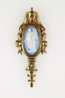 Oval blue jasper cameo with white relief of Apollo, set in furniture brass