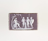 Rectangular cocoa (lilac?) jasper cameo with white relief scene with four male figures, set in gold mount as a brooch