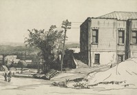 This image is created with black ink on paper. At the left of the image, the side or rear of a brick building is visible, with two flights of stairs leading up to it from the street. To the left of the building is a leafy tree and a series of power lines. In the street, which runs along the left of the sheet, two figures walk. The street moves down a hill, and houses, trees, and a valley can be seen in the background.