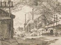 This image is created with black ink on paper. A street runs through the center of the composition, rising into a viaduct in the middle ground. On the street are automobiles and figures. At the left of the street is a building in the foreground with a power line standing in front of it. A figure sits in front of the building near the base of the power pole. At the right of the street are power lines, a rail car, and Sloss Furnaces (including a casting ched, a blast furnace, and a series of smokestacks and cooling towers). The sky in the image is clouded with smog.