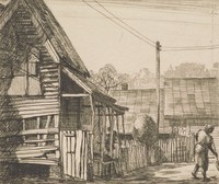 This image is created with black ink on paper. At the right of this print, a woman sweeps the ground. To her left is a domestic building that is missing siding and appears to be boarded up in places. Another figure sits on its porch, and a fence surrounds the property behind the building. That fence encloses another building that is behind the sweeping woman. Houses rise on a hillside in the distant background.