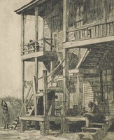 This image is created with black ink on paper. The print represents a multi-family domestic building with two stories of porches. Stairs run from the foreground onto the first story porch and from the middle ground up to the second story porch. Two female figures and a child are on the first floor porch and a female figure is leaning over the railing of the second floor porch. In the yard behind the building, a woman is hanging laundry on a line.