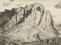This image is created with black ink on paper. A large mountain of material with a round pock rises to cover much of this sheet. Ruts and grooves wind through the pile, having been eroded throughout. In a valley at the right of the sheet, a power pole is seen in the distance.