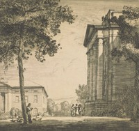 This image is created with black ink on paper. A view of the side of the portico of a classical revival building fills the right side of this print. In front of the building, a group of figures gather, and other figures lay beneath a tree in the foreground. Behind the tree and figures, part of another classically styled building with a portico can be seen.