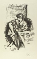 """A figure sits in a robe with her right leg crossed over her left leg. Beside her is a table, and behind her is a door. This print was made for the album """"Maîres et petits maîtres d'aujourd'hui."""""""