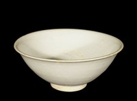 Bowl with everted rim, with gray-white glaze and molded peony pattern and firing ring in interior