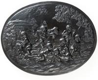 Oval basalt plaque with nine Bacchanalian boys at play in vineyard