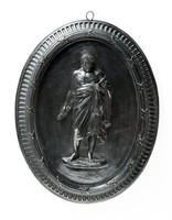 Oval basalt medallion with Demosthenes (384-322BC)