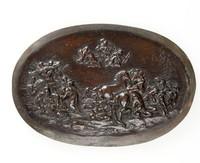 Oval bronze plaque depicting the destruction of Niobe's children