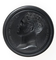 """Round black basalt intaglio with profile portrait, """"ALEXANDRE I EMPEREUR/DE TOUTES LES RUSSIES"""""""