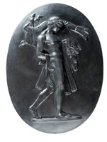 Oval basalt plaque with Hercules and the Erymanthean Boar