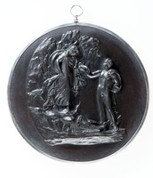 Round plaque with Perseus and Andromeda with silver mount and ring