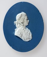 Oval dark blue jasper medallion with white relief profile portrait of a Queen Charlotte (1744-1818)  facing right. unmarked but three small firing holes to back. Probably taken from a medal in 1789.
