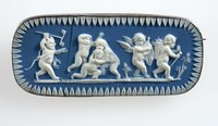 Rectangular dark blue jasper cameo with white relief scene of five putti and one devil, set in silver mount as a brooch