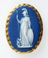 Oval dark blue jasper cameo with white relief figure of Minerva goddess of war, with gilded border