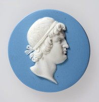 Round blue jasper medallion with white relief profile portrait of Thrasybulus (440-388BC) facing right, He was an Athenian general and democratic leader. His public career began in 411 BC, when he frustrated oligarchic rising in Samos . Elected general by the troops, he effected the recall of Alcibiades, a former general accused of having profaned the hermae of Athens. and assisted  him in several successful naval campaigns. In 404, when exiled by the Thirty , he retired to Thebes. In the following winter with 70 men, he seized Phyle, a hill fort on Mt. Parnes near Athens. His supporters soon grew so with 1,000 men, he repelled an attack by the oligarchs. In autumn 403, following  skirmishes with a Spartan expedition under King Pausanias, a reconciliation was effected and democracy was restored.