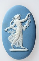 Oval blue jasper medallion with white relief of a Floral girl, a modification of the Dancing hours.