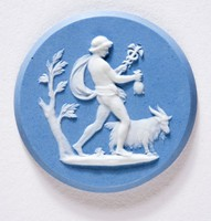 Round blue jasper medallion with white relief scene of Mercury holding the head of Aries with Lapidary polished edges