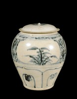 Jar with floral spray on top, panels showing plants on side, lappets below, painted in underglaze-blue cobalt-oxide.