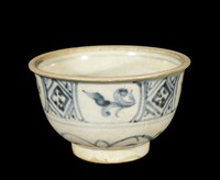 Cup with underglaze cobalt hatching and vegetal patterns, chrysanthemum spray in well, with chocolate base