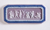 Octagonal tri-color jasper (lilac, dark blue, and white) cameo with white relief scene with six putti