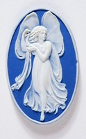 Oval dark blue jasper cameo with white relief of a Zepyhr with polished edges