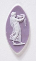 Elongated oval lilac jasper cameo with white relief woman carrying a bowl for a sacrifice, with polished edges