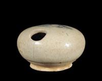 Betel Nut shaped Lime pot with underglaze cobalt cloud motif