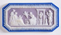 Octagonal tri-color jasper (dark blue, lilac, and white) cameo with white relief scene of the Cupid Market, with polished edges