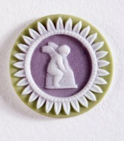 Tiny round tri-color jasper (sage green, lilac, and white) cameo with seated cupid