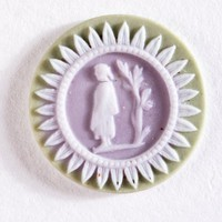 Tiny round tri-color jasper (sage green, lilac, and white) cameo with white relief standing figure