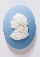 Oval blue jasper medallion with white relief profile portrait of Jean Le Rond D'Alembert (1717-1783) Known mostly for his advances in mathematics and his association with Denis Diderot in the creation of the famous Encylopedie, but his other works were numerous and influential.