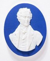 Oval dark blue jasper medallion with white relief portrait of Sir Robert Peel (1788-1850) English Statesman, Founder of the Royal Irish Constabulary, Appointed Home Secretary in 1822, Leader of the House of Commons in 1828 and in 1834 became Prime Minister and Chancellor of the Exchequer.
