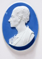 Oval dark blue jasper medallion with white relief profile portrait of Alexander Pope (1688-1744), English poet and critic, born in London, his father being a Roman Catholic linen-draper..